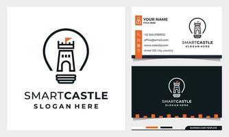Light Bulb with line art Castle Logo Smart Castle with business card vector