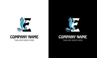 letter E with a yoga person. Logo Icon vector illustration