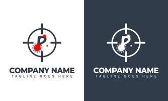 Corona virus logo, initial letter P virus logo design vector template