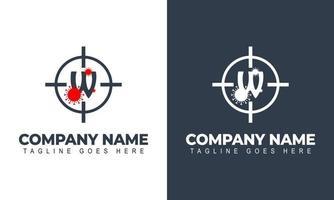 Corona virus logo, initial letter W virus logo design vector template