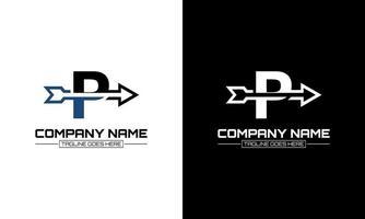 Vector illustration of letter P logo shape arrow graphic