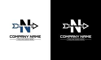 Vector illustration of letter N logo shape arrow graphic