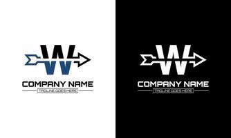 Vector illustration of letter W logo shape arrow graphic