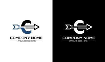Vector illustration of letter C logo shape arrow graphic