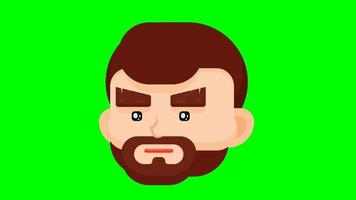 Flat design man face looking all the direction. video