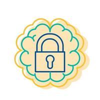 Lock Icon Human Brain Background, Introvert Sign vector