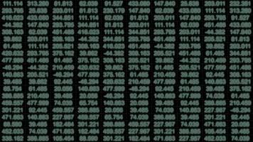 A Data Grid of Streaming Numbers - Loop video