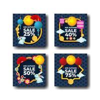 Mid Autumn Sale Card Collection vector