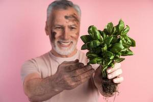 Close-up view of an older man holding a basil in his hands photo