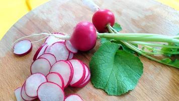 Close-up of radish slices photo