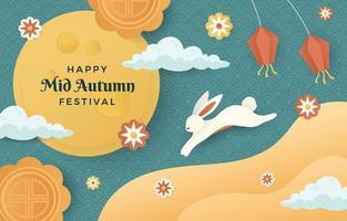 Happy Mid Autumn Celebration Concept vector