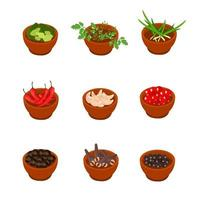 Isometric and cartoon style flavorful spices, condiments icon. vector