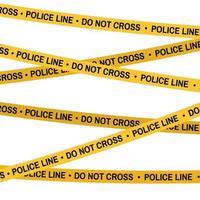 Crime scene yellow tape, police line Do Not Cross tape vector