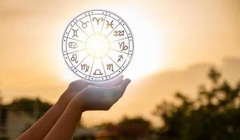 Zodiac signs inside of horoscope circle astrology photo