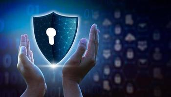 Highly secure IT device protection shield. blue background photo