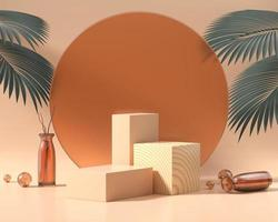 Wooden platform podium for product display with palm leaves 3d render photo