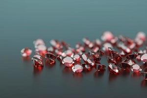 Diamante rubí colocado sobre fondo de reflexión brillante enfoque específico 3d foto