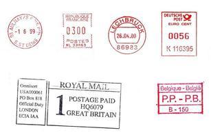medidores de correos internacionales aislados foto