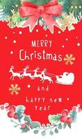 Merry Christmas Banner with Red Ribbon and Christmas Wreath vector