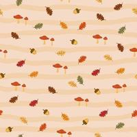 Autumn seamless pattern with acorns,oak leaves and mushrooms vector
