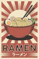 Retro Japanese Ramen Poster vector