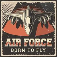 Retro Air Force military plane Poster vector