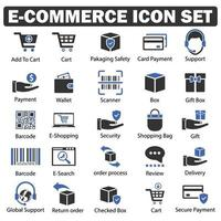 E-Commerce and shopping Icon set black and blue series vector