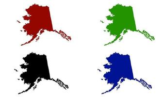 Alaska state map silhouette in the United States vector
