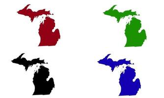 Michigan state map silhouette in the United States vector