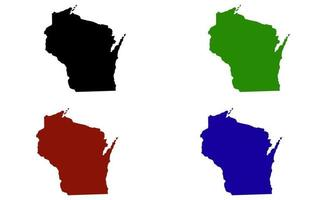 Wisconsin state map silhouette in the United States vector