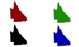 Queensland map silhouette in Australia vector
