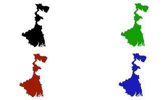Kolkata city map silhouette in India vector