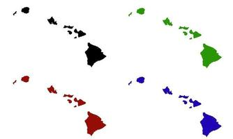 Hawaii state map silhouette in the United States vector