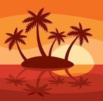 isla tropical con cuatro palmeras. vector