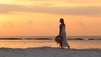 femme marche le long de la plage pendant le coucher du soleil à tropical resort video