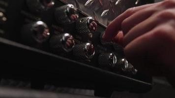 Heavy metal rock band- closeup of knobs on amplifier video