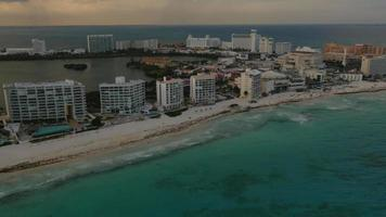Aerial view of hotels and beach in Cancun, Mexico video
