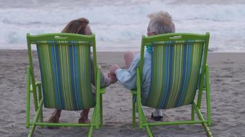 Senior couple sitting at beach together video