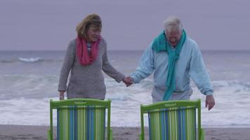 Senior couple sit in chairs at beach video