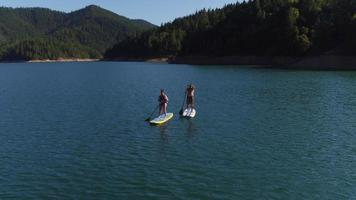 Toma aérea de drone de pareja remando tablas de paddle surf en el lago video
