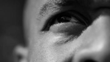 Closeup of basketball players eye video