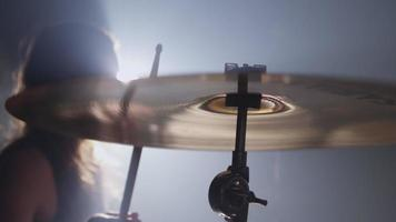 Cymbal closeup in heavy metal rock band, slow motion video