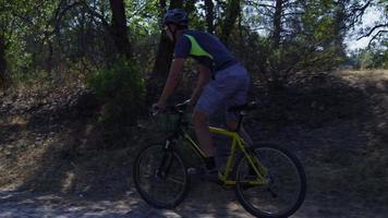 man rijden mountainbike in de natuur video