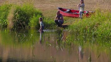 Family at lake video