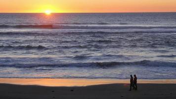 People walking on beach at sunset video