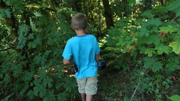 Two boys walking through woods with fishing gear video