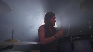 Heavy metal rock band drummer, slow motion video