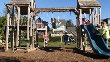 Family playing at park playground video