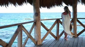 Femme debout sur la jetée du tropical resort video