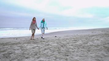 Senior couple walk to beach chairs and sit down video